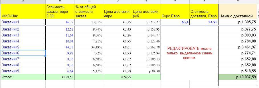 Распределить стоимость доставки пропорционально сумме заказа
